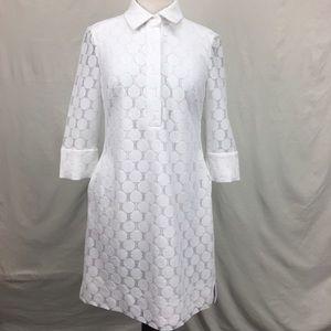Adrianna Papell Eyelet White Collar Dress